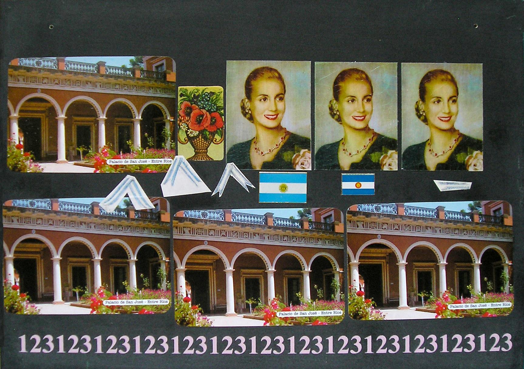Evita Maestra recorre el país, Palacio San José, Entre Ríos ; serie, técnica mixta sobre pizarrón; 21 x 30 cm, 2007