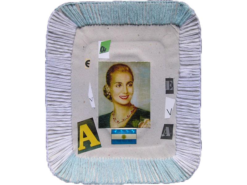 A Eva, papel collage y bordado sobre bandeja de cartón, 14 x 10 cm, 2007