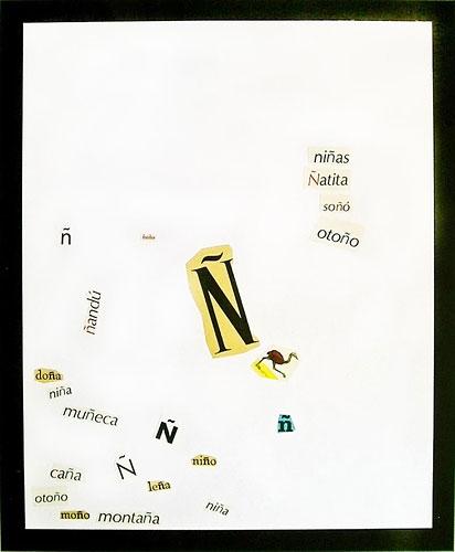 Abecedario-Ñ, papel collage sobre papel, 55 x 45 cm,1991.