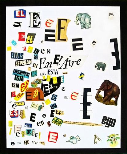 Abecedario-E, papel collage sobre papel, 55 x 45 cm, 1991.