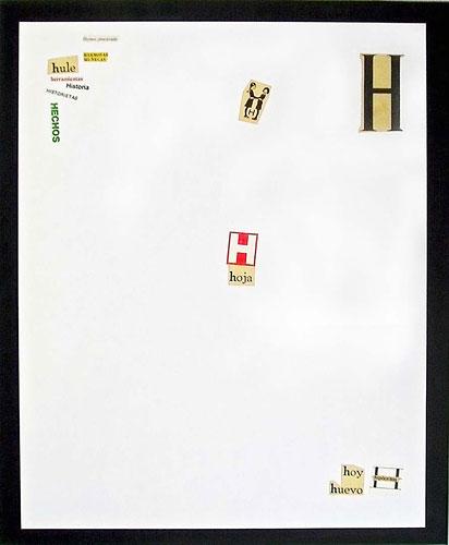 Abecedario-H, papel collage sobre papel, 55 x 45 cm, 1991.