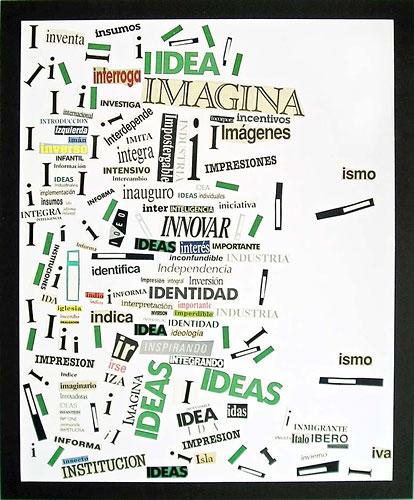 Abecedario-I, papel collage sobre papel, 55 x 45 cm, 1991.