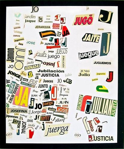 Abecedario-J, papel collage sobre papel, 55 x 45 cm, 1991.