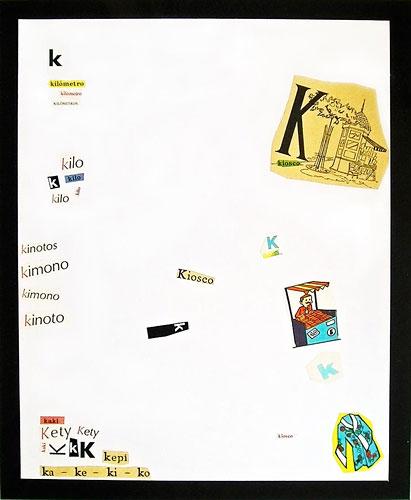 Abecedario-K, papel collage sobre papel, 55 x 45 cm, 1991.