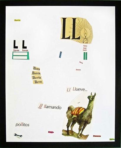 Abecedario-LL, papel collage sobre papel, 55 x 45 cm, 1991.