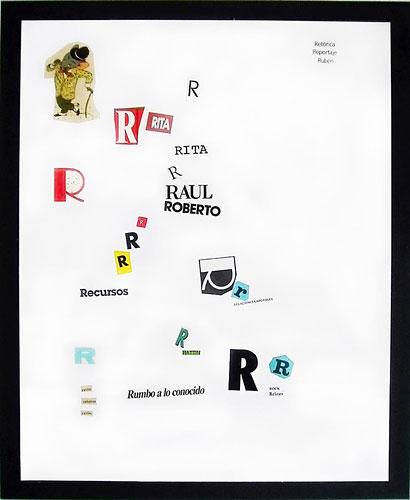 Abecedario-R, papel collage sobre papel, 55 x 45 cm, 1991.