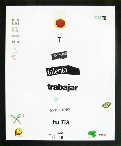Abecedario-T, papel collage sobre papel, 55 x 45 cm, 1991.