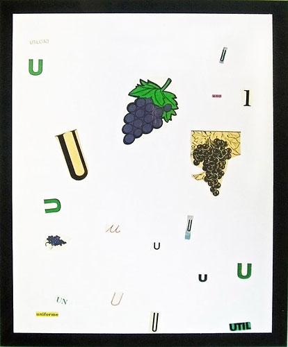 Abecedario-U, papel collage sobre papel, 55 x 45 cm, 1991.