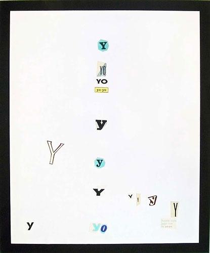 Abecedario-Y, papel collage sobre papel, 55 x 45 cm, 1991.