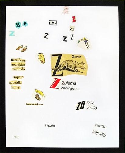 Abecedario-Z, papel collage sobre papel, 55 x 45 cm, 1991.
