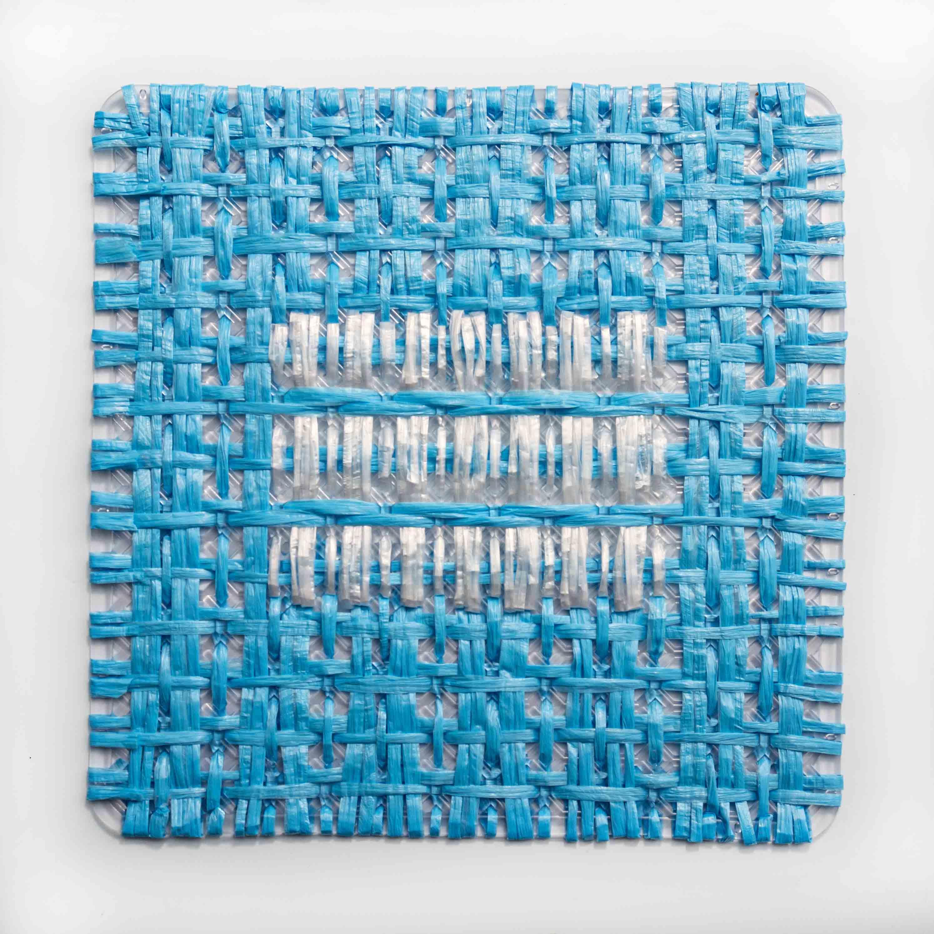 Alegoría II,  bandera; cintas ensambladas, 29 x 29 cm, 2012