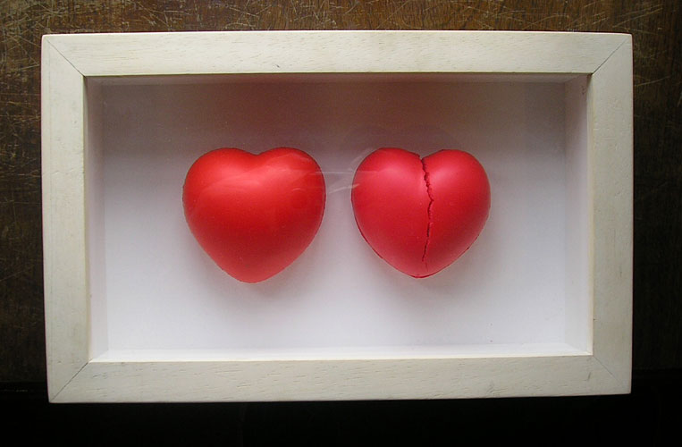 Almas gemelas, objetos ensamblados, 2002.