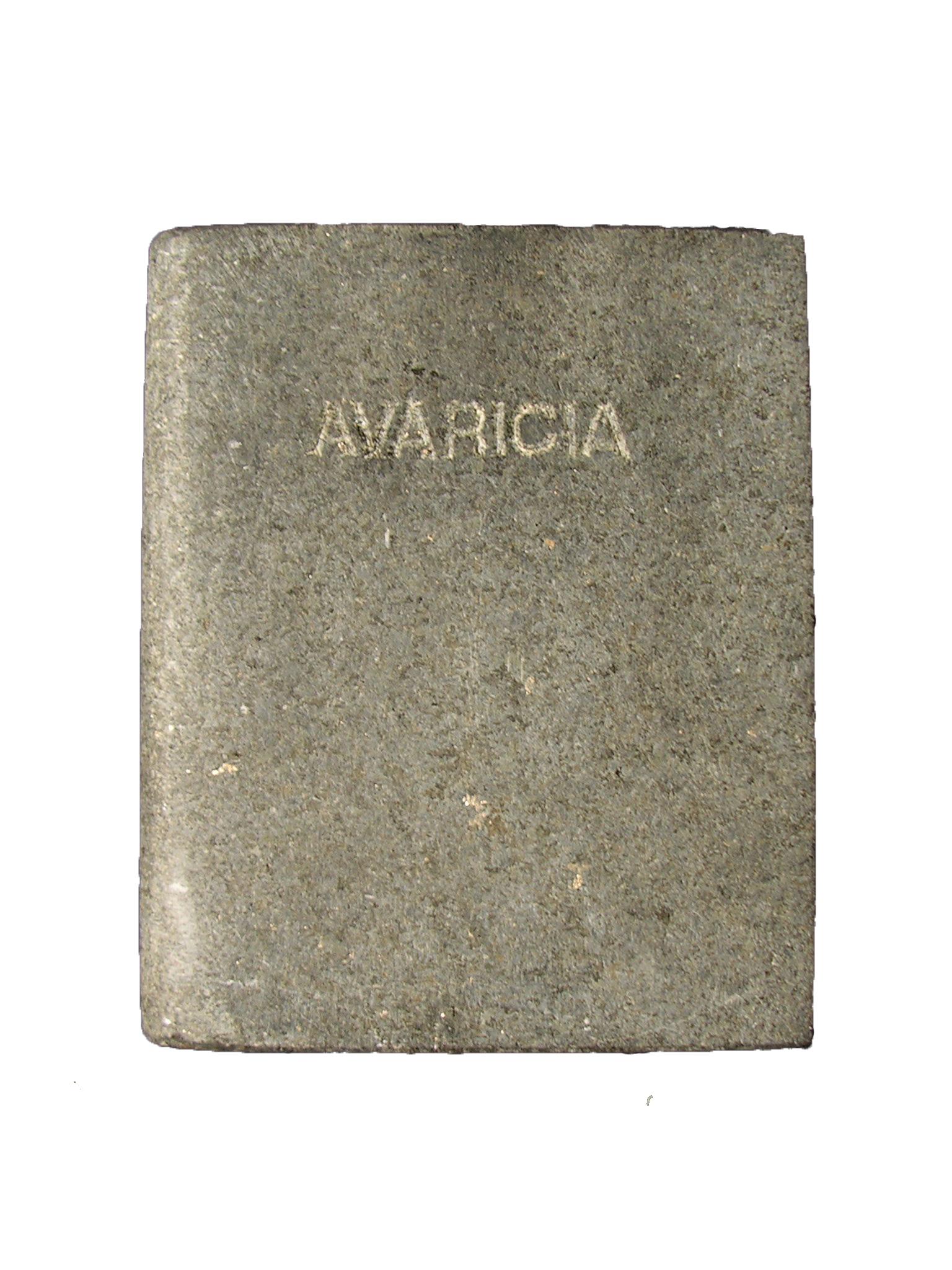 Avaricia Los siete pecados capitales libro en mármol negro brasil 18x3x15cm 1984