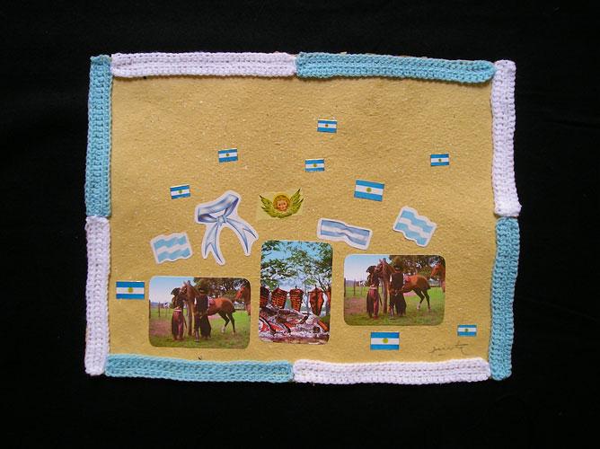 Carne argentina / Papel collage y bordado, 30 x 40 cm. 2006.