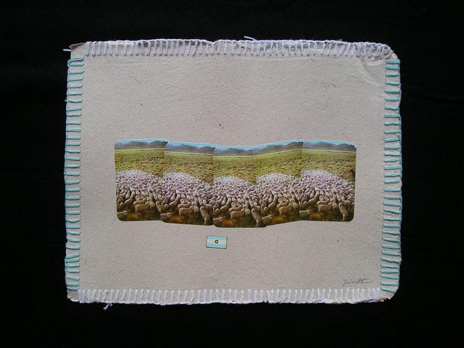 El sur / Papel collage y bordado, 30 x 40 cm. 2006.