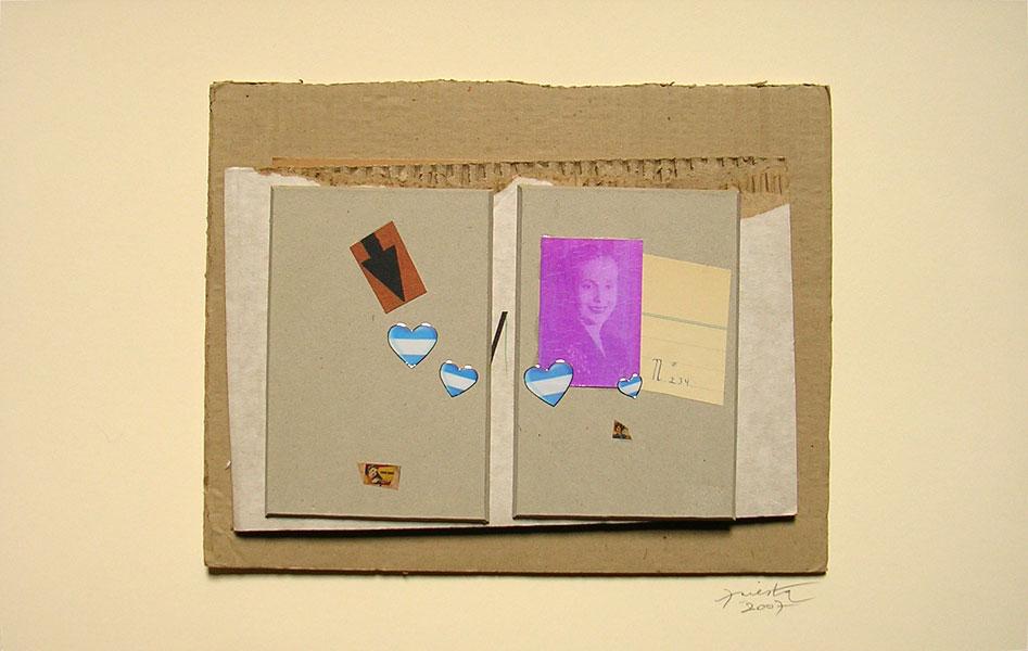 Evita todo corazón, papel collage, 27 x 42 cm, 2007.