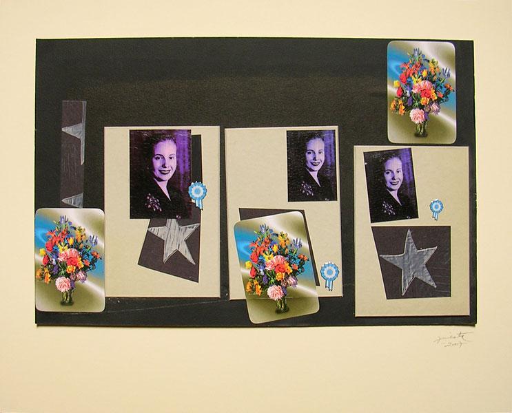 Evita repicando, papel collage, 27 x 42 cm, 2007.