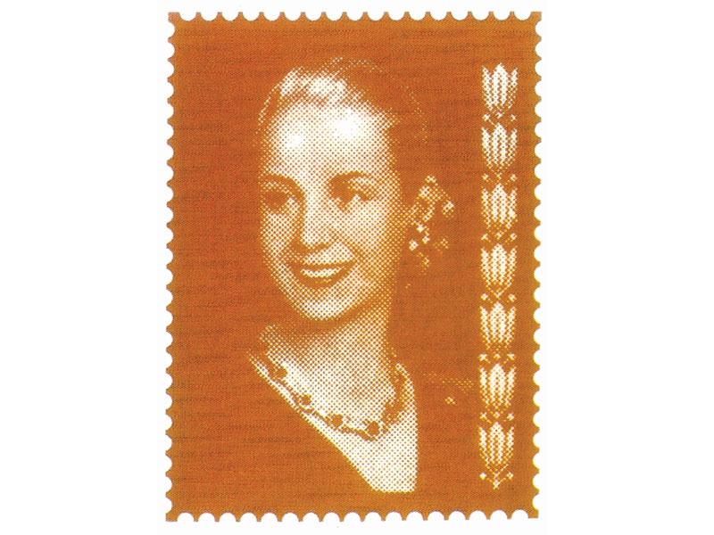 Evita, serie, serigrafía impresa a un color, 9,5 x 7 cm, 1999.