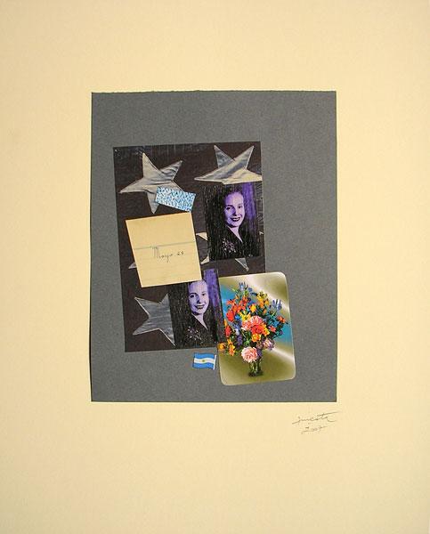 Evita evocación I, papel collage, 33 x 22 cm, 2007.