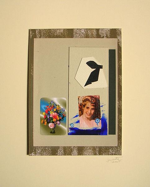 Evita joven II, acrílico, tinta y papel collage, 33 x 24 cm, 2007.