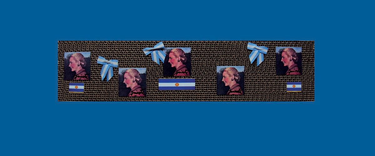 Evita en perspectiva II, papel collage sobre cartón corrugado,11 x 46,5 x 4,3 cm, 2009