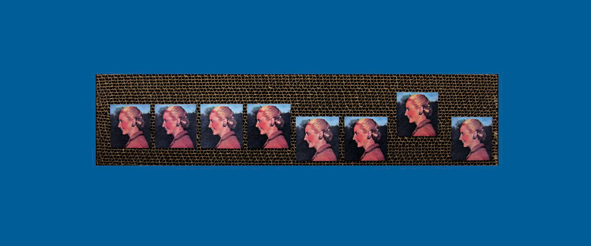 Evita en perspectiva IV, papel collage sobre cartón corrugado,11 x 46,5 x 4,3 cm, 2009