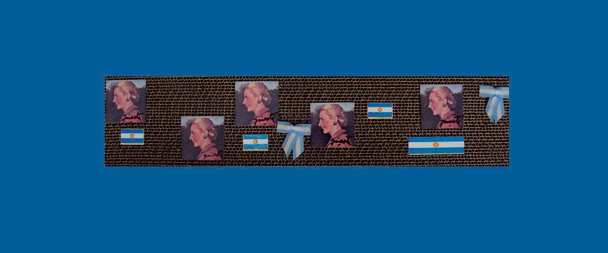 Evita en perspectiva V, papel collage sobre cartón corrugado,11 x 46,5 x 4,3 cm, 2009