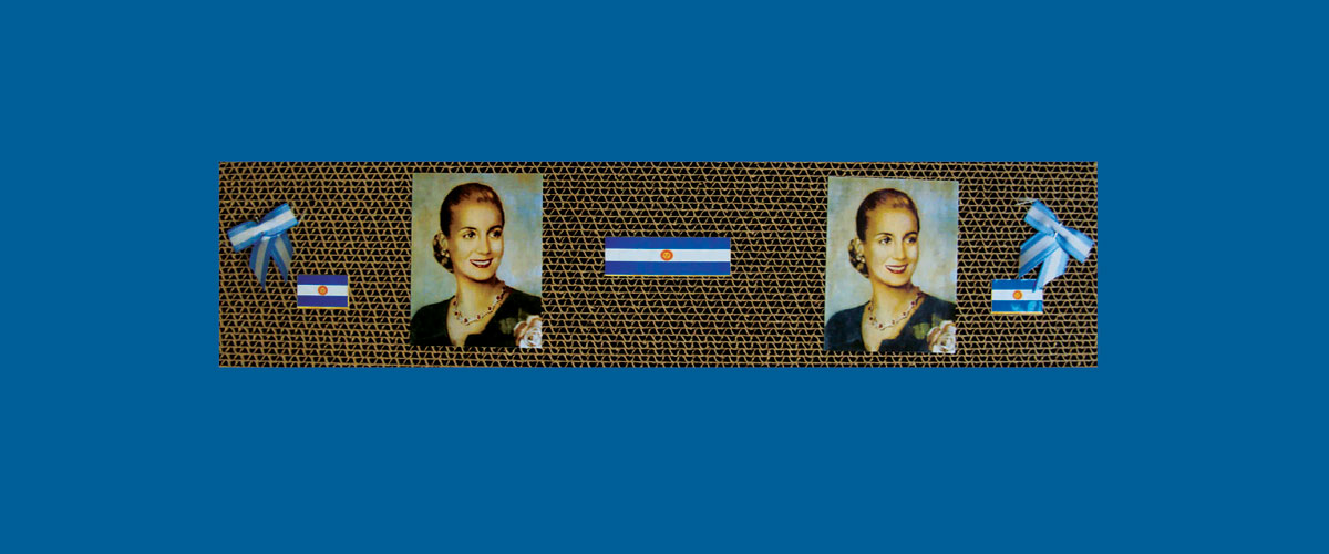 Evita en perspectiva VIII, papel collage sobre cartón corrugado,11 x 46,5 x 4,3 cm, 2009