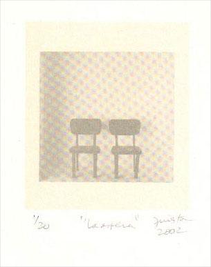 La espera, serigrafía a dos colores, 48x40 cm, 1999.