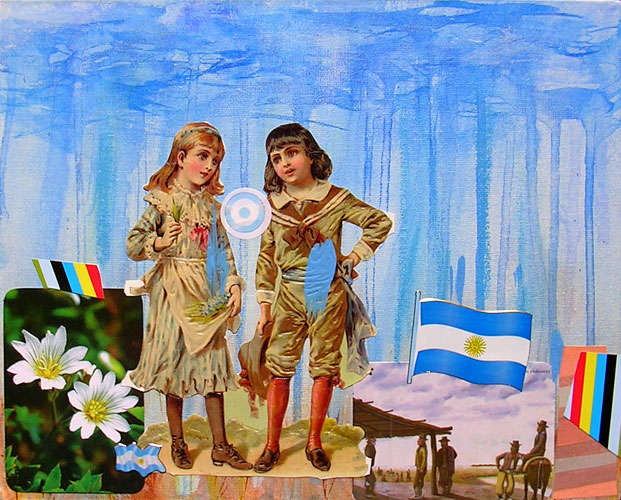 Los niños, acrílico y papel collage sobre tela,18 x 24 cm, 2006.