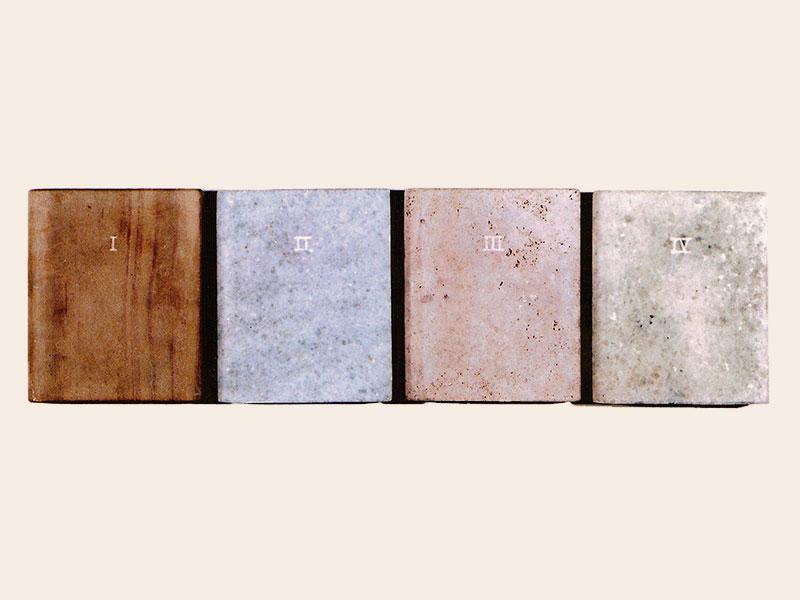 Las cuatro estaciones, libros en mármol de carrara,15 cm x 18cm x 3cm, 1984