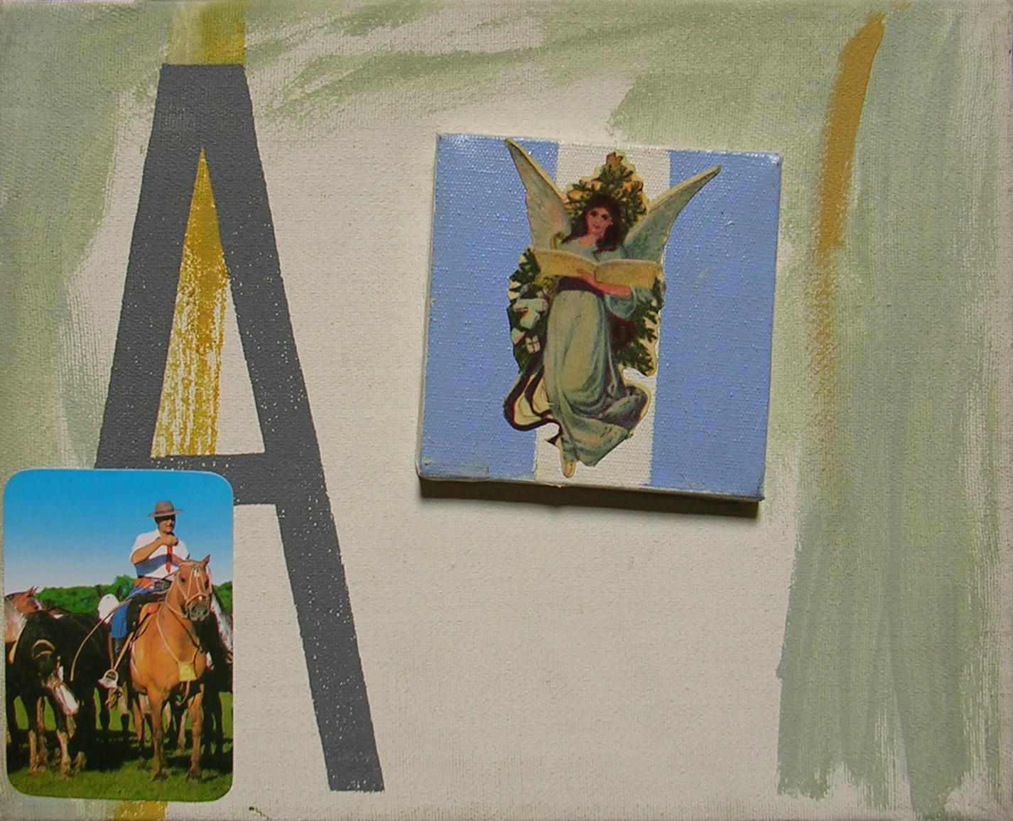 Abecedario A; objetos ensamblados, tela, papel sobre bastidor, 30 cm x 40 cm, 2007