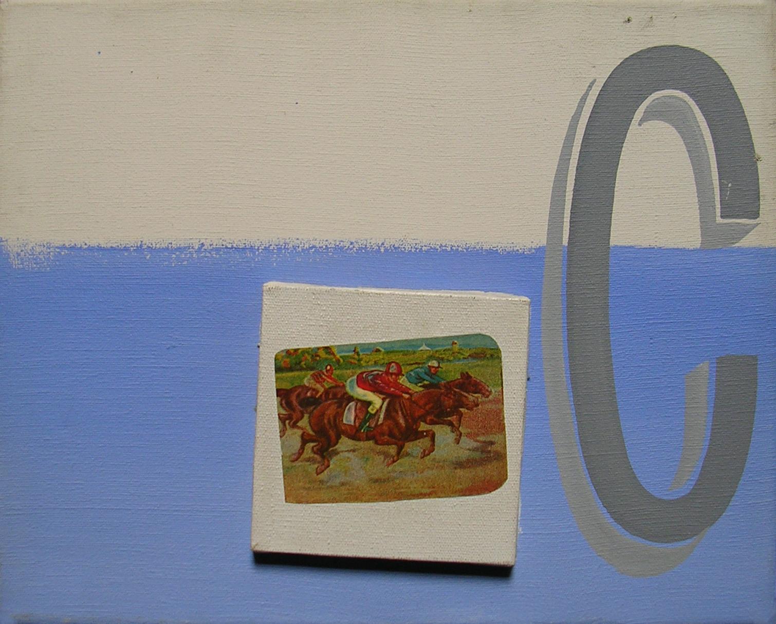 Abecedario C; objetos ensamblados, tela, papel sobre bastidor, 30 cm x 40 cm, 2007