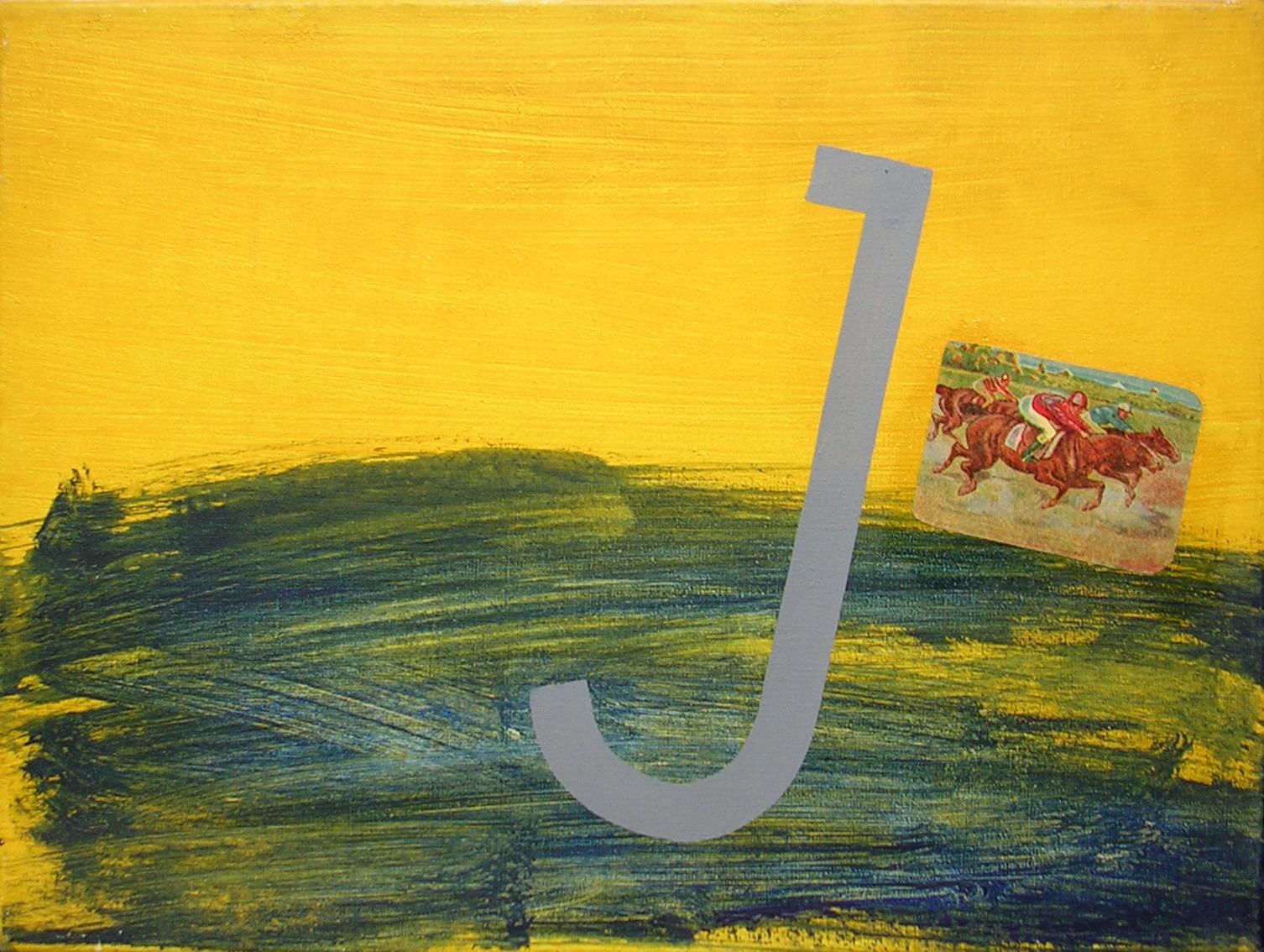 Abecedario  J; objetos ensamblados, tela, papel sobre bastidor, 30 cm x 40 cm, 2007