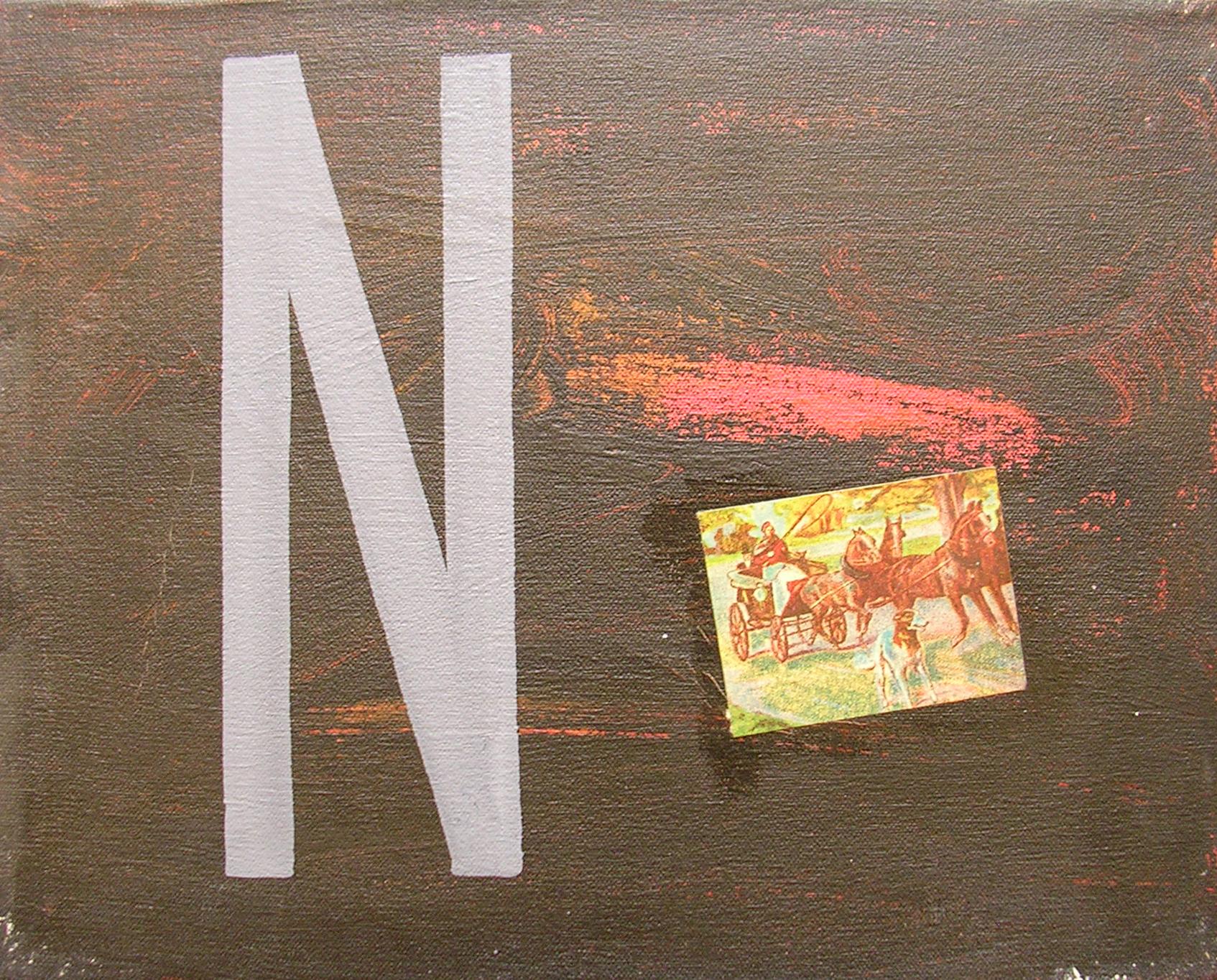 Abecedario N Noche ; objetos ensamblados, tela, papel sobre bastidor, 30 cm x 40 cm, 2007