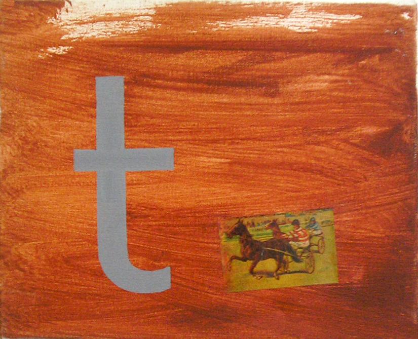 Abecedario T Tiro ; objetos ensamblados, tela, papel sobre bastidor, 30 cm x 40 cm, 2007