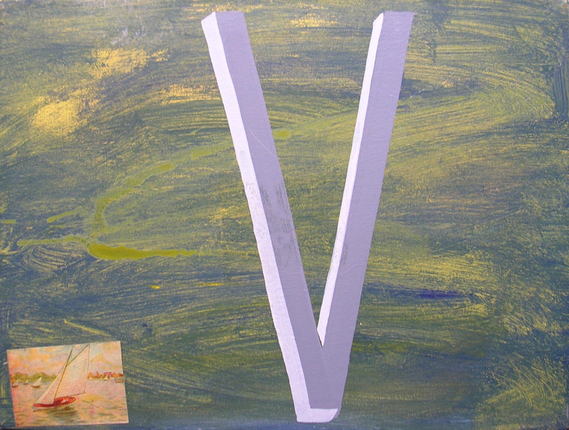 Abecedario V Velero ; objetos ensamblados, tela, papel sobre bastidor, 30 cm x 40 cm, 2007