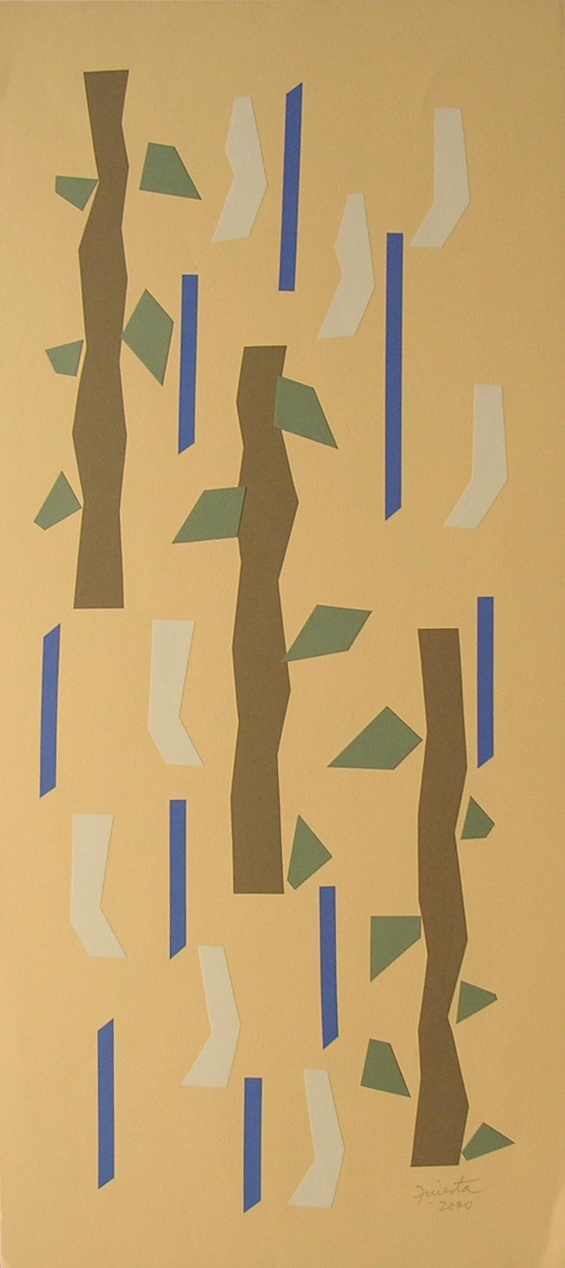 Alegoría XI, papel collage 80 cm x 35 cm, 2000