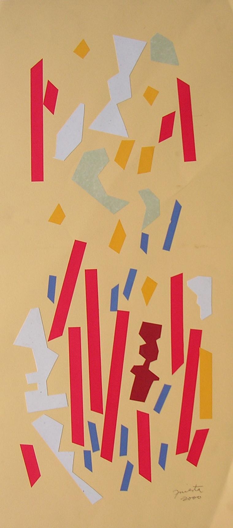 Alegoría V, papel collage 80 cm x 35 cm, 2000