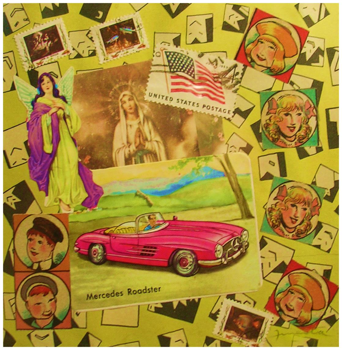 Auto,  papel collage, 15 cm x 15 cm, 1999