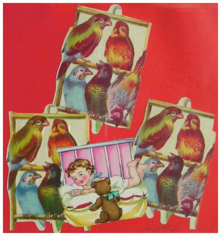 Bebé,  papel collage, 15 cm x 15 cm, 1999