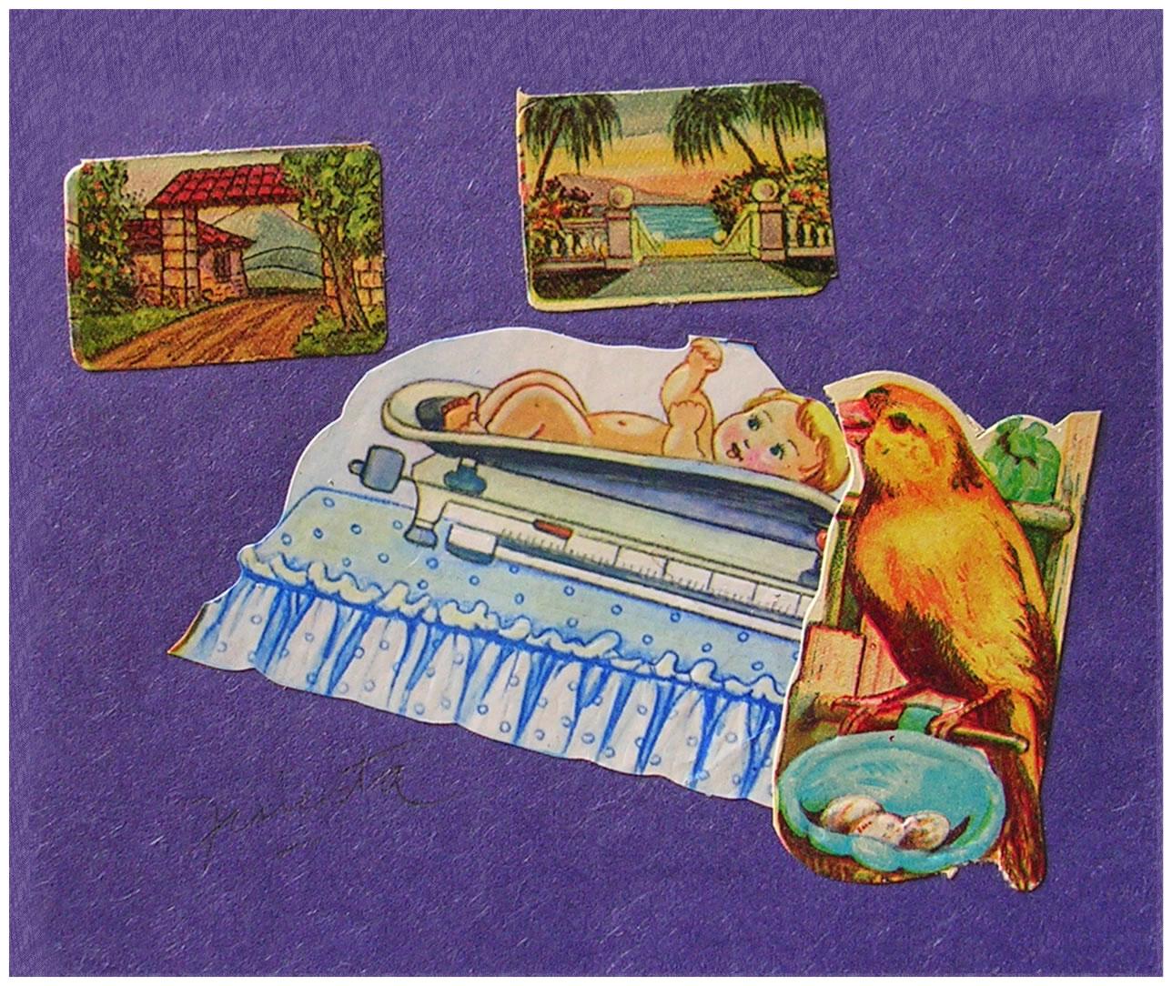 Bebe II,  papel collage, 15 cm x 15 cm, 1999