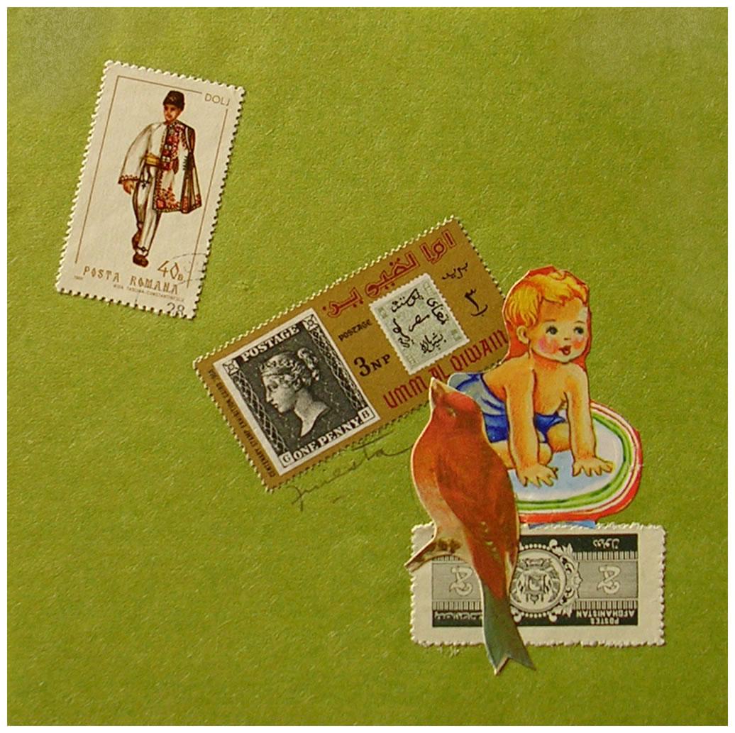 Bebe III,  papel collage, 15 cm x 15 cm, 1999