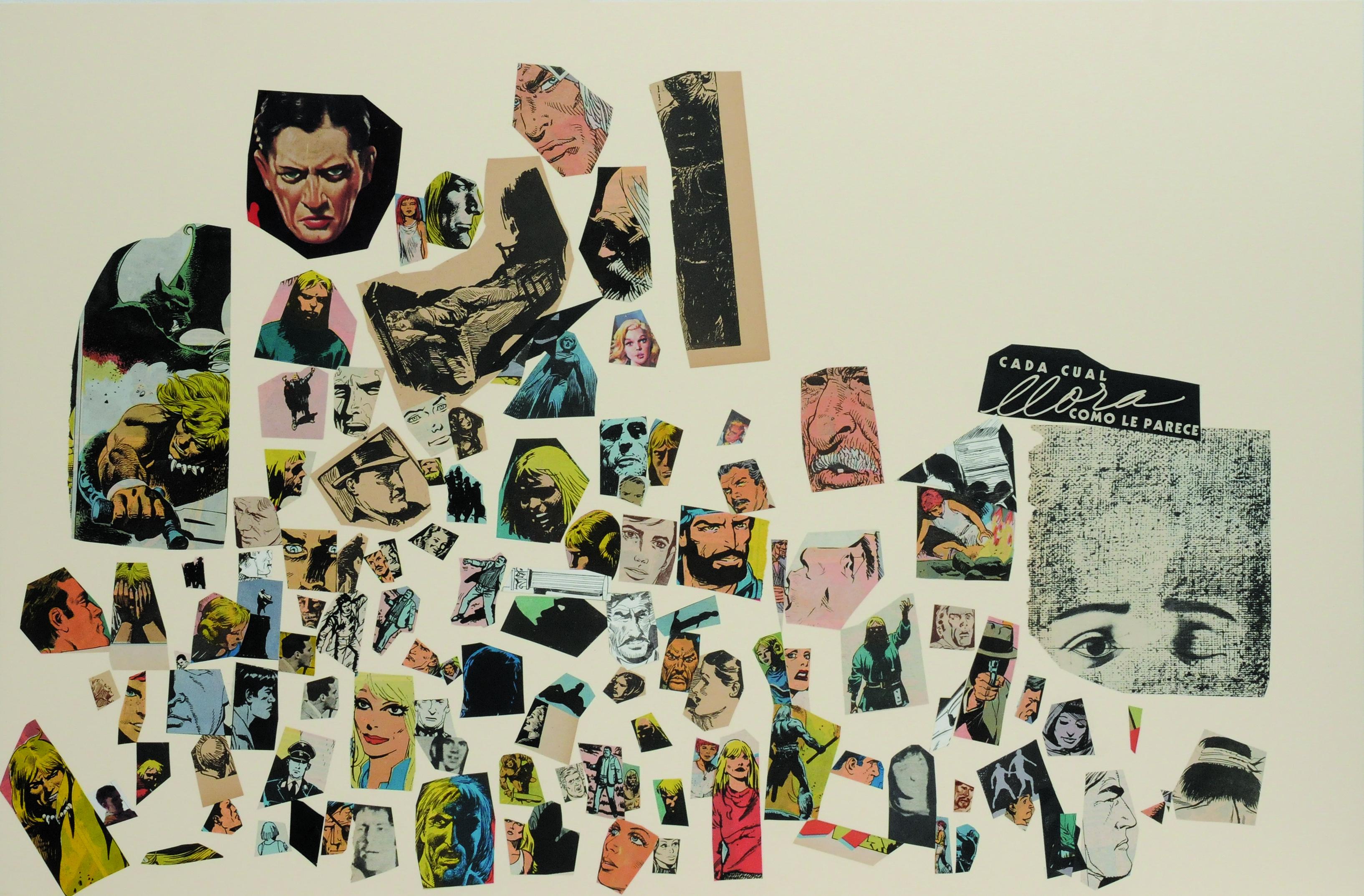 Cada cual llora como le parece, papel collage, 51 cm x 76 cm. 2008