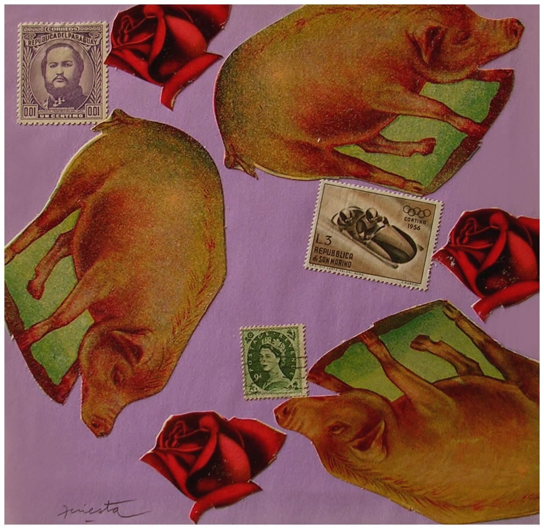 Cerdos II,  papel collage, 15 cm x 15 cm, 1999
