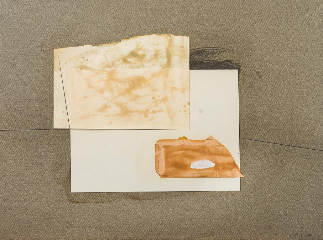 Naturaleza Muerta, pintura, lápiz y papel collage, 50 cm x 65 cm,  1980