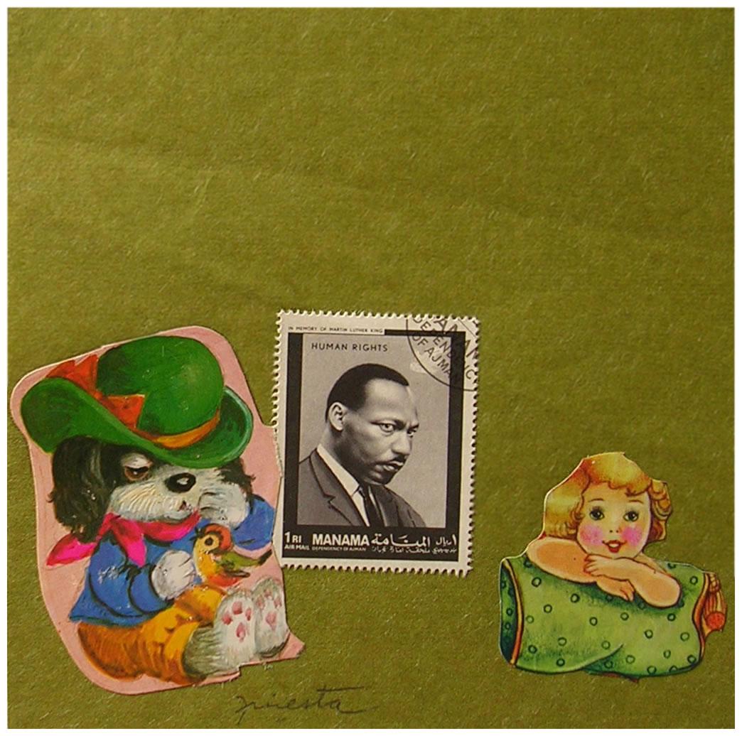 El Perro y la niña,  papel collage, 15 cm x 15 cm, 1999