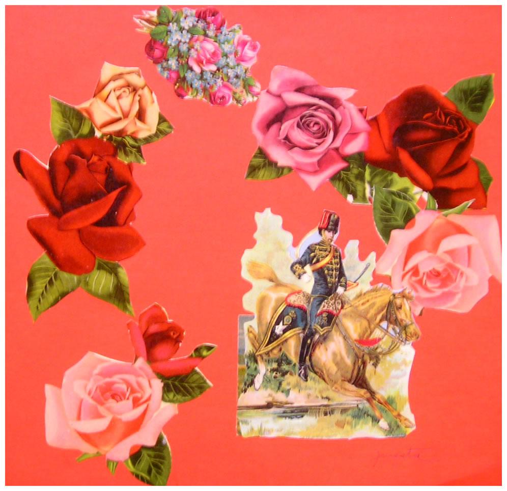 El jinetey las flores,  papel collage, 15 cm x 15 cm, 1999