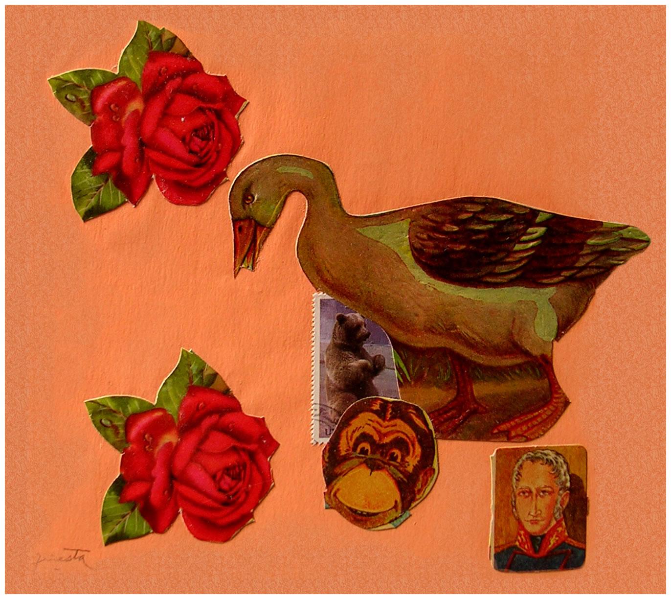 El pato y el mono,  papel collage, 15 cm x 15 cm, 1999