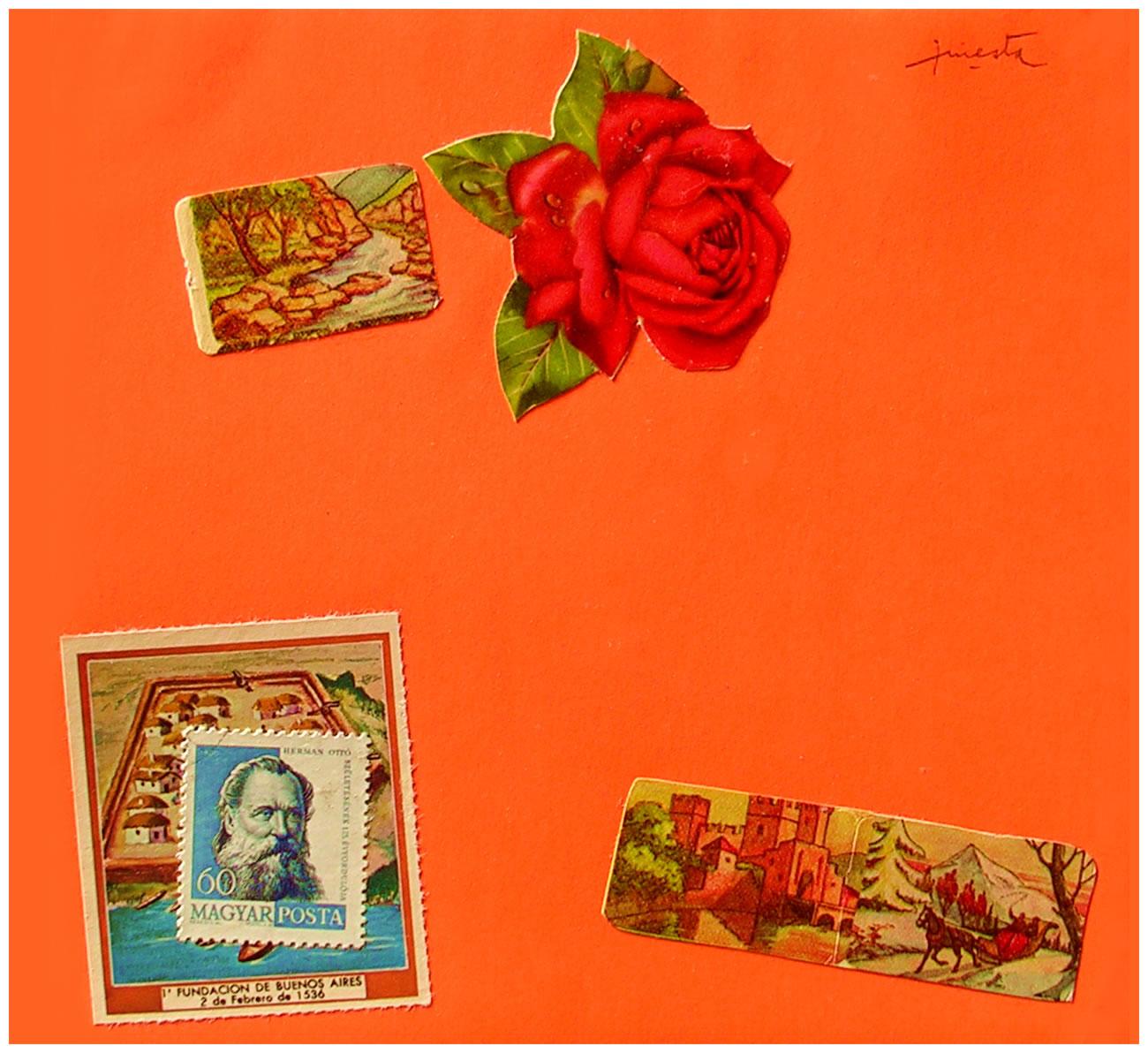 Fundación de Buenos Aires,  papel collage, 15 cm x 15 cm, 1999